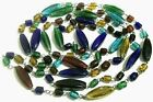 Vintage Art Glass Bead Necklace Cobalt Turquoise Blue Green Red 60 Long Flapper