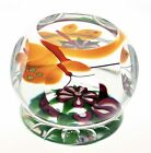Selkirk Glass Butterfly and Flower Paperweight 120 200