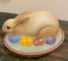 FENTON GLASS EASTER BUNNY RABBIT EGGS ON NEST SIGNED MINT CONDITION