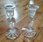 NEW AUTH WATERFORD TWO 2 CRYSTAL CANDLESTICKS CANDLE HOLDERS PRENTISS 6 MINT