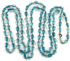 VINTAGE GLASS BEADED NECKLACE CLEAR BEADS WITH AQUA BLUE ACCENT 54 LONG