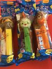 PEZ RETIRED CHICKEN LITTLE, FISH OUT OF WATER & ABBY-PRISTINE IN ORIGINAL BAGS