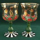 Set of Two Mackenzie Childs HEIRLOOM Dots Hand Painted GOBLETS Water Wine Set B