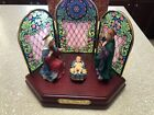 San Francisco Music Box Christmas Nativity Stained Glass Wooden Base SUPER RARE