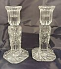 Set of 2 Violetta VCZ1 Hand cut 24 Lead Crystal Taper Candlestick Holders