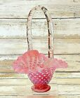 Fenton Glass Basket Pink Cranberry Hobnail Opalescent Pleated Ruffled Easter 5