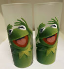 2 VINTAGE RETRO GLASS MUPPET SHOW KERMIT THE FROG TUMBLERS