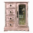 Vintage Pink Shabby Country Cottage Wooden Jewelry Box Floral Glass Drawers OOAK