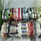 Large Lot of GLASS  STONE Beaded Bracelets Assorted CLR
