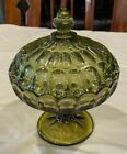 Vintage Fenton Colonial Green Footed Pedestal Thumbprint Glass Candy Dish W Lid
