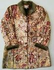 Chicos Womens Coat Size 1 8 10 Long Faux Fur Lined Floral Abstract Print