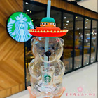 Limited Edition Starbucks Latin America Hat Bear 17oz Glass Cold Cup Tumbler Hot