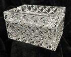 Vintage Crystal Basket Weave Pattern Rectangle Ashtray Candy Dish w Lid