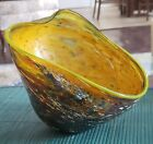 BEAUTIFUL COLORS SIGNED  DATED 2003 RYNO SPATTER GLASS BOWL URANIUM EDGE