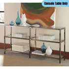 Contemporary 3 Tier Glass Shelves Metal Bookcase Console Table Display Storage