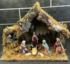 VTG MANGER NATIVITY CRECHE STABLE CHRISTMAS SCENE MADE IN ITALY JESUS BEAUTIFUL