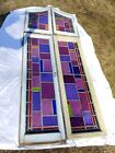 Antique Gothic Stained Glass Large Church Window 4 Panel 3 x 8