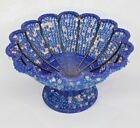 Antique Handmade Woven Copper Blue Clear Glass Bead Bowl c1940s