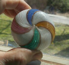 ANTIQUE ART GLASS PAPERWEIGHT GOLD LUTZ MULTI COLOR SWIRLS OVER CLEAR BASE