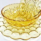Vintage Yellow Cut Glass Bowl Plates Set of 3