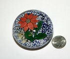 Antique New England Sandwich Paper Weight with Poinsettia on Blue  White Jasper