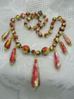 OLD VINTAGE ESTATE JEWELRY VENETIAN FOILED GLASS KNOTTED STRING BEAD NECKLACE