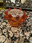 Vintage Viking Glass Persimmon Orange Flowerlite Flower Frog W Addl Glass Frog