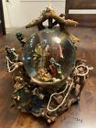 Ornate Nativity Scene Snow Globe Music Silent Night Works And Clear Perfect Cond