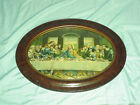 Large TIGER WOOD OVAL FRAME CONVEX BUBBLE GLASS 24 1 2x 18 3 4  LAST SUPPER
