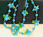 Vintage Hand Blown Glass Birds Beads Fetish Necklace Beautiful Color 11 Clusters