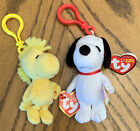 TY Beanie Babies Baby Peanuts Snoopy & Woodstock w/ Key Clips and Hangtags 5""