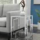 Town Square Chrome End Table  Clear Glass