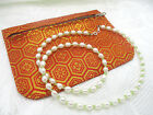 VINTAGE ESTATE VICTORS FRESHWATER PEARL NECKLACE 925 CLASP PERIDOT GLASS SPACER