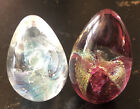 2 Glass Eye Studio Plum Iridescent Egg Shaped Paperweights 25 275 Not Marked