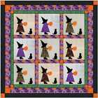 Quilt Kit Halloween Witches Of Sunbonnet Applique Precut Ready to Sew