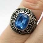 925 Sterling Silver Vintage Balfour Blue Topaz Tone Glass School Ring Size 55