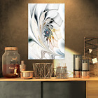 Design Art White Stained Glass Floral Wall Art Canvas 16 x 32