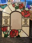 VNTG Leaded Stained Glass Picture Frame Art Deco Floral Roses TIFFANY STYLE