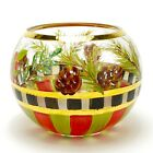 Mackenzie Childs Hand Painted Glass Bowl Candle Holder Evergreens Holiday Checks