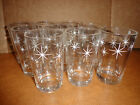 Vintage Gold  White Atomic Starburst Drinking Glasses Clear Juice Cups
