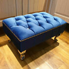 Chesterfield Footstool Pouffe Upholstered Fabric Foot Rest Stool Bench Seat