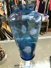 10 Fenton Glass BLUE FLORAL VASE Hand Painted by SB Ryan MINT w LABELRi521