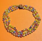 Vintage Blue Pink Yellow Iridescent Glass Beads Triple Strand Necklace