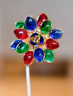 Moans Couture Gold Plated Poured Glass Emerald Ruby Sapphire Flower Brooch 30
