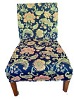 Two High End Floral Woven Upholstery Fabric Slip Covers for Dining Parson Chair