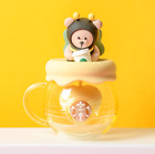 New Starbucks Lovely Little bee Glass Cup W 3D lid Strainer Coffee Mug Limited