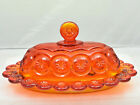 Vintage L E Smith Moon And Stars Oval Butter Dish Amberina Heritage