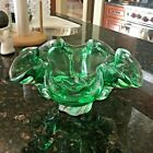 Vintage MCM Murano Chalet Art Glass Ruffled Bowl Green to Clear 10 x 6