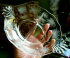 Fostoria Glass Bowl Etched Crystal Lido Divided Clear Baroque Shape