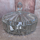 Vintage Clear Glass Candy Dish w Lid